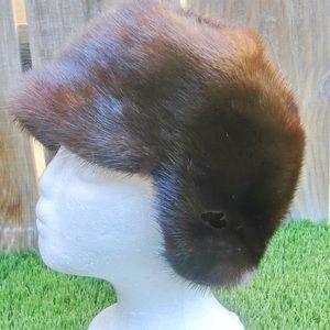 Mink Fur Helmet Hat Pulls Down Over Ears Unusual